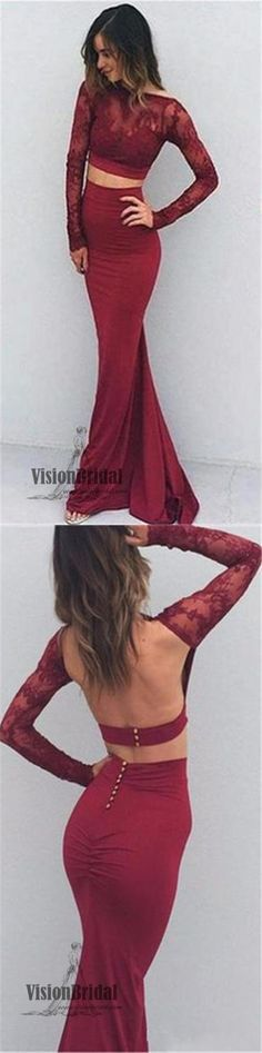 Sexy Two Pieces Lace Long Sleeves Prom Dress, Open Back Mermaid Prom Dress, Prom Dresses, VB0114 #promdress