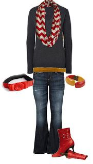 Red, mustard yellow, gray outfit. Red heels and chevron scarf.