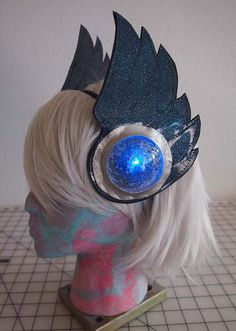 Made to Order LED Light Up Galactic Headwear - Blue Glitter and Silver Metallic Vinyl Vegan Valkyrie Wings - Great for Burning Man