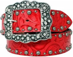 Red Floral Belt by Double J Saddlery