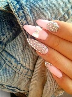 Pink, crystals and a white bow <3