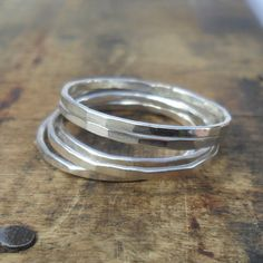 Set of 5 Sterling Silver Stacker Rings Skinny Rings £22.00