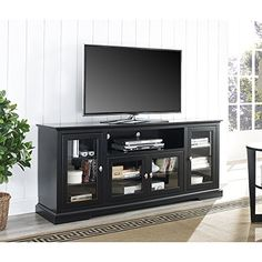 WE Furniture 70″ Highboy Style Wood TV Stand Console, Black