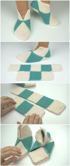 Easy to fold slippers - crochet or knitting - # crochet . - craft Easy to fold crochet or knit slippers # Häke Knitting , lace processing is the single most beautiful h. Easy Knitting, Knitting Stitches, Knitting Designs, Knitting Socks, Knitting Projects, Crochet Projects, Knitting Patterns, Crochet Patterns, Crochet Ideas