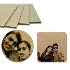 Made of 4mm Pine MDF Wood, you will get set of 6 Coasters in this order