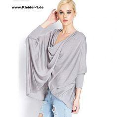 Damen Übergrößen Fledermaus Shirt Grau