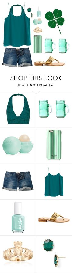 """Happy St.Patricks Day! "" by alexybel ❤ liked on Polyvore featuring Topshop, Kilner, Eos, Isaac Mizrahi, Fat Face, MANGO, Essie, Jack Rogers, Ross-Simons and Kendra Scott"