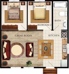 The size of our garage. I'd move the bath between the 2 BR. But if you wanted to convert back to garage, leave the plan as is. Small House Plans, House Floor Plans, Little House Plans, The Plan, How To Plan, Converted Garage, Cottage Plan, Apartment Plans, Studio Apartment