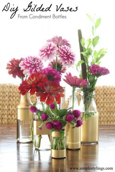 DIY Gilded Vases From Condiment Bottles with beautiful Fall Farmers Market blooms www.simplestylings.com