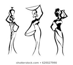 Silhouettes of the Greek and African women, isolated on white ba — Stock Illustration Silhouette Tattoos, Silhouette Images, Woman Silhouette, Silhouette Vector, African Drawings, African Art Paintings, African Tattoo, Africa Art, Woman Illustration