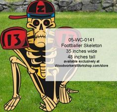 05-WC-0141 - Footballer Skeleton Yard Art Woodworking Pattern #diy #woodcraftpatterns