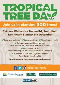 Skyrail Rainforest Cableway and Cairns Regional Council have partnered for Tropical Tree Day supported by Planet Ark to plant 300 trees at Cattana Wetlands #joinus #skyrail #rainforest #cairns #tropicaltreeday