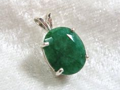 12x10mm Natural Emerald Pendant, Oval Emerald Pendant, Faceted Emerald Pendant 925 Sterling Silver
