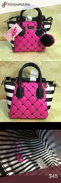 "Betsey Johnson Hot Pink Satchel Hot pink exterior with signature black and white stripes. Measures 10"" x 8"". 4 slots for credit card, pen and small stuffs. One zip pocket. Removable shoulder strap. Betsey Johnson Bags Shoulder Bags"