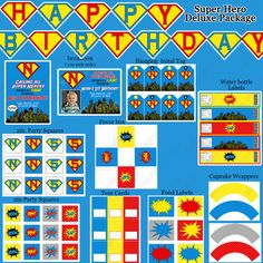 Super Hero Deluxe Printable Birthday Party Package