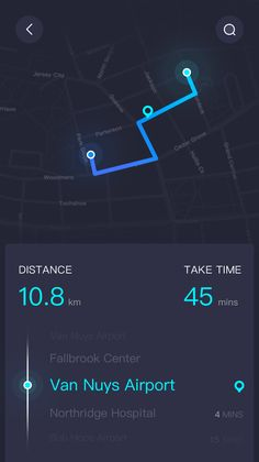 I like how this shows the distance & time between each destination and your current location.
