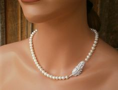 May Sale. 18.5 inch Leaf Pave Diamond Natural by WhitePearlGem, $89.00
