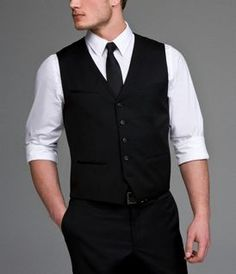 Groomsmen's vests   with a colored tie to match the ladies