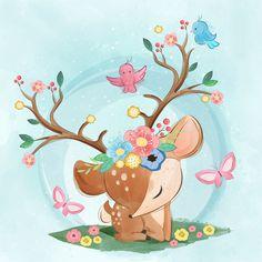 Baby Deer wall art removable, kids nursery wallpaper, wall decor Girls Boys, reusable or traditional, peel & stick room décor eco-friendly Illustration Inspiration, Cute Animal Illustration, Baby Animal Drawings, Cute Drawings, Cute Images, Cute Pictures, Cartoon Mignon, Illustration Mignonne, Deer Wall Art