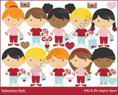 Valentine Kids Clipart product from Digital-Bake-Shop on TeachersNotebook.com
