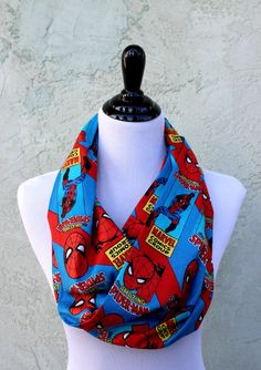 SpiderMan Comic Fabric Infinity Scarf by HandmadeReverie on Etsy, $22.00