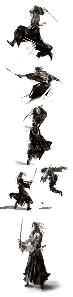 maichao  的插画 ~ Samurai Tattoo, Samurai Drawing, Samurai Artwork, Guerrero Samurai, Samurai Swords Katana, Samurai Warrior, Samurai Poses, Miyamoto Musashi, Japan Art