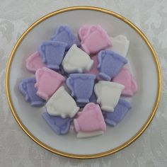 Pink, Violet & White Mini Teacup Shaped Sugar Cubes - 36 Pieces by Sugars by Sharon on Gourmly