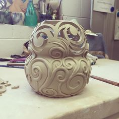 Great carving job! | It still needs a lid, almost done! #ceramics