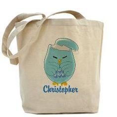 #Personalised #Blue Sleepy #Owl #Tote #Bag