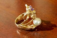 14kyellow gold ring with freshwater pearl, tanzanite and diamond, custom made ring
