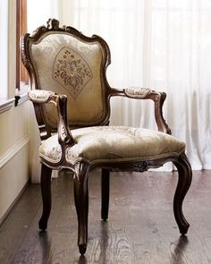 """Simone"" Frame Chair  The ""Simone"" chair will delight with its elegant curves. Its hand-carved frame is reminiscent of a... more »  $1,249.00"