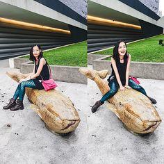 Get this look: http://lb.nu/look/8738767  More looks by Ren Rong: http://lb.nu/pupuren  Items in this look:  Jucy Judy Dress, Unknown Mermaid Leggings, Nine West Bag, Steve Madden Boots   #artistic #casual #street #sg #singapore #museum #mermaid #mermay #leggings