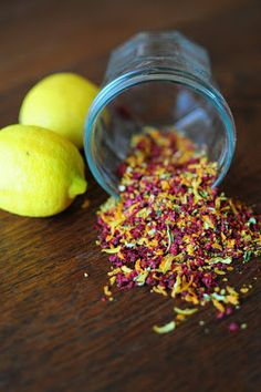 combination of ZEST of dried raspberries along with lemon, lime, and orange zest.  Whatever you use, make sure it gets thoroughly dried to ensure a sprinkle like texture.