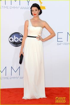 Jessica Pare.  Emmys 2012.  Jason Wu dress.  Jason Wu shoes.  Christian Louboutin clutch.  Bulgari jewels.