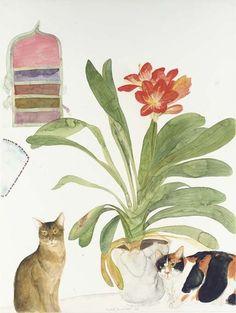 Two Cats with Clivia, Elizabeth Violet Blackadder