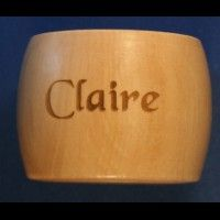 Wooden Napkin ring with name, short phrase or single image engraved on one side only