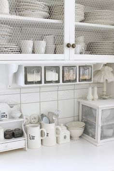 chicken wire instead of glass. built in canisters. i need this!