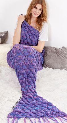 Purple Textured Fringe Knit Mermaid Blanket