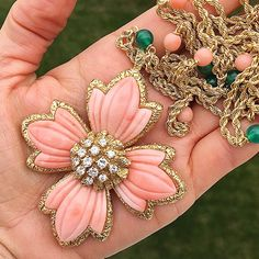 Van Cleef & Arpels coral, diamond and chrysophrase necklace, circa 1970