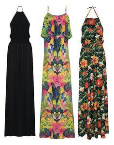 Pra quem curte um vestido com pegadas anos 70 tem várias opções estampadas - e lisa também! Cada um sai por R$ 149,99