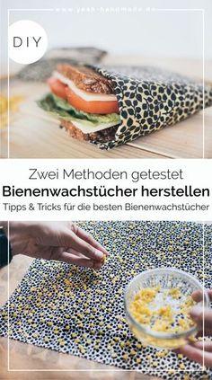 Make DIY beeswax towels yourself - two methods- DIY Bienenwachstücher selber machen – zwei Methoden DIY Crafts For Teens To Make, Diy For Teens, Crafts To Sell, Easy Crafts, Diy And Crafts, Sell Diy, Kids Diy, Food Crafts, Diy Food