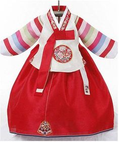 Girls red and pastel hanbok