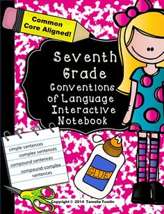 Interactive notebooks are a great way for your students to experience hand-on language skills and activities they will actually remember. This notebook (when completed) will serve as an excellent end-of-the-year study guide for the 6th grade standardized test. ALL language skills in this notebook are aligned to the 7th Common Core Conventions of Language standards. $ #seventhgrade #ELA #languagearts #interactivenotebook
