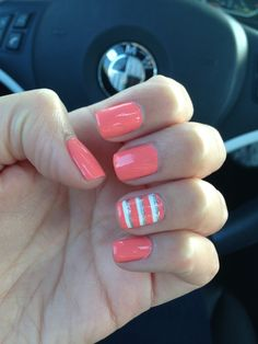 coral, white, & silver accent striped nail