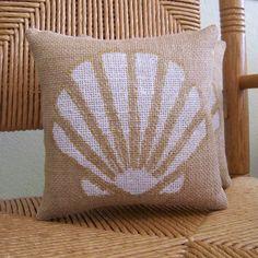 Sea Shell pillow Beach pillow Burlap pillow by KelleysCollections