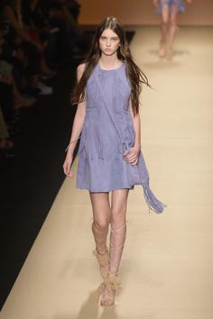 Alberta Ferretti Spring 2015- periwinkle, fringe and suade. What a combo!