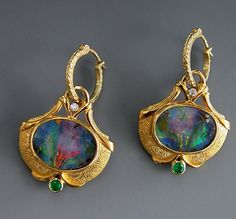 Gold, Boulder Opal Split, Emerald and Diamond Earrings by Athenae Inc ~ xUnusual shape setting Opal Earrings, Opal Jewelry, Jewelry Art, Antique Jewelry, Gold Jewelry, Vintage Jewelry, Fine Jewelry, Jewelry Design, Gold Bracelets