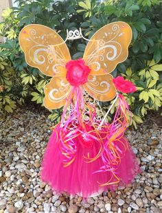 Orange Fairy Wings Pink Fairy Wands Hot Pink Tutu by partiesandfun, $19.50. Also check out my other pretty ideas www.partiesandfun.etsy.com