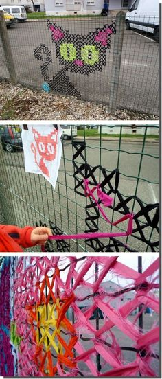 Weben im Maschendraht . Diy And Crafts, Crafts For Kids, Fence Art, Yard Fencing, Diy Fence, Metal Fence, Fence Ideas, Ecole Art, Yarn Bombing