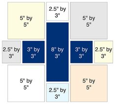 These are the cut sizes I used to make my blocks - the block is square unfinished and square finished. Quilting Tips, Quilting Tutorials, Quilting Projects, Quilting Designs, Modern Quilting, Quilt Design, Quilt Block Patterns, Pattern Blocks, Quilt Blocks